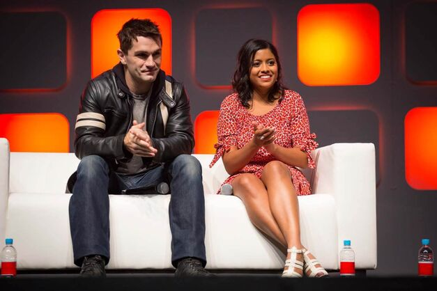 "Sam Witwer and Tiya Sircar from ""Star Wars Rebels"" on the Celebration Stage at Star Wars Celebration Europe in London. on Saturday, July 16. (Credit:JamesGillham ; StingMedia)"