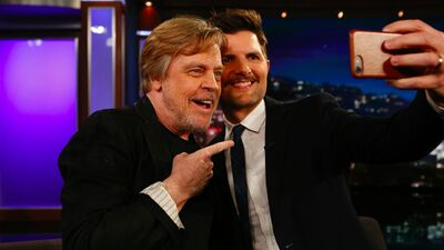 Adam Scott Freaks Out When Mark Hamill Surprises Him Proving He's Totally One of Us
