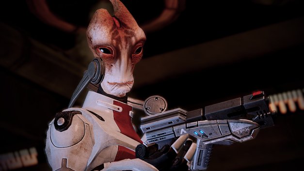 An image of a member of the salarian race from Mass Effect.