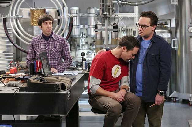 "Howard, Sheldon and Leonard in the lab in The Big Bang Theory episode ""The Dependence Transcendence"""