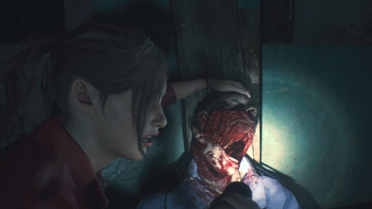 Resident Evil 2 Claire and zombie victim