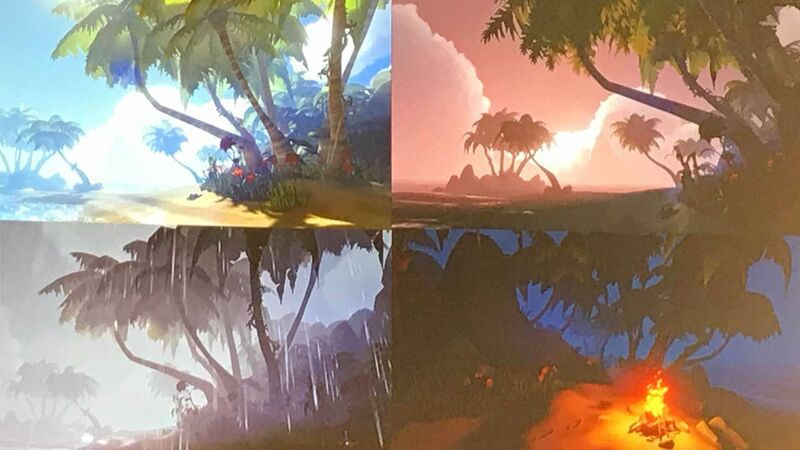 Sea of Thieves test island with fire, rain, sunset, and high noon.