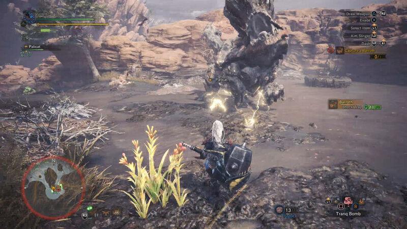 Barroth capture trap Monster Hunter World