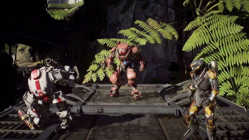 Three Javelin suits stand on a platform