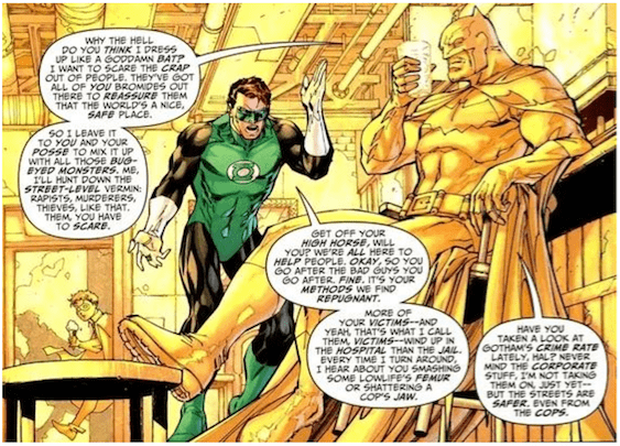 In this one-panel scene from a Batman comic, Batman sits nonchalantly at the bar while the Green Lantern yells angrily at him for being a psychopath.