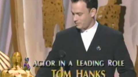 "Tom Hanks winning an Oscar® for ""Forrest Gump"""