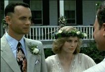 Forrest and Jenny talking to Lt. Dan on their wedding day