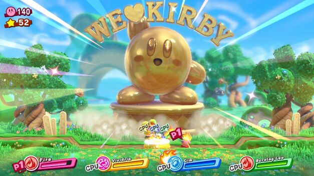Bonus Stage in Kirby Star Allies that features a giant We Love Kirby Statue