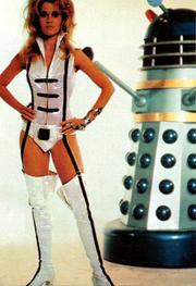 DWM 289 - Bafflement and Devotion - Jane Fonda Iris Wildthyme with Dr Who and the Daleks Dalek