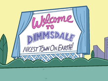 Dimmsdale Welcome Sign