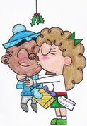 Aj and charlotte under the mistletoe by nintendomaximus-d4j4mpu