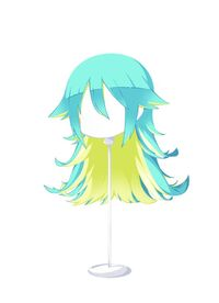 HAIR SpritelyCatTwoToneemeraldgreenyellowishgreen