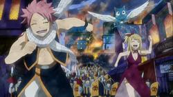 Natsu et Lucy échappent aux gardes à Harujion