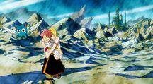 Happy, Lucy et Natsu rentrent à la guilde
