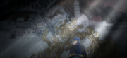 Derton devant la fresque de la Fête du Roi Dragon