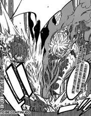 Grey et Natsu répondent au Dragons Jumeaux frappant Mald Gheel
