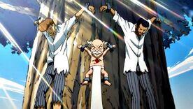 Wakaba, Makarof et Macao, attachés à l'arbre.