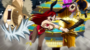Erza bat Haru et Natsu