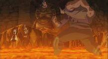 Arcadios marche dans la lave