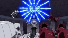 Erza attaque les monstres du Pandemonium