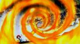 Rob protège Erza avec ses Flammes Ravageuses