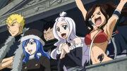 La Team Fairy Tail B célèbre la victoire de Efman