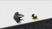 Gajil et Natsu frappant avec le second mode activé Tempester et Trafzer