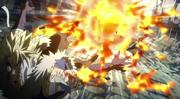 Natsu ayant donné un coup de poing à Sting
