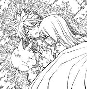 Lucy réchauffe le corps de Natsu