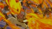Natsu vainc les soldats avec son attaque