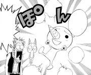 Natsu et Happy, stupéfaits devant l'apparition de Plue