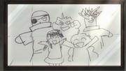 Le dessin de Mavis accroché chez Natsu et Happy