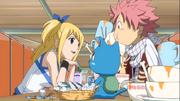 Lucy invite Natsu et Happy à dîner
