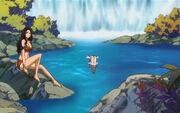 Lucy et Kanna se baignent