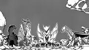Quatre dragons avec les humains