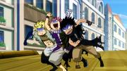 Natsu,Sting et Gajil pendant les Chars d'assaut