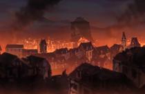 Déliora attaquant le village