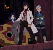 Leon, Jubia et Grey avec les pièces de l'horloge