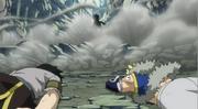 Natsu ayant battu les Dragons Jumeaux