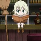 Mavis jeune est en train de lire un livre