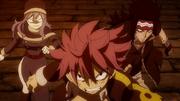 Natsu, Jubia et Gajil face aux Démons