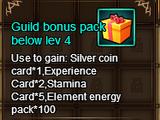 Guild bonus pack below Lev 4