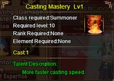 Casting Mastery Lv 1
