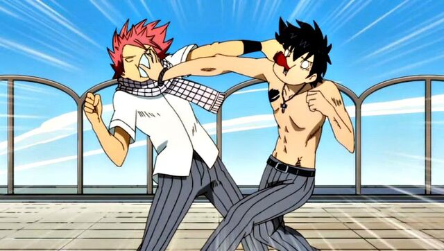 File:Natsu and Gray fight at school.JPG