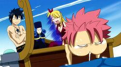 Natsu se marea en el bote