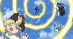 Virgo ataca a Lucy Natsu y Happy
