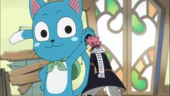 Happy burlándose de Natsu encogido