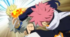 Natsu golpeando a Sting