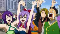 Miembros felices tras la victoria de Fairy Tail