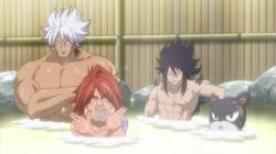 Gajeel, Ichiya, Elfman y Lily en los baños de Blue Pegasus